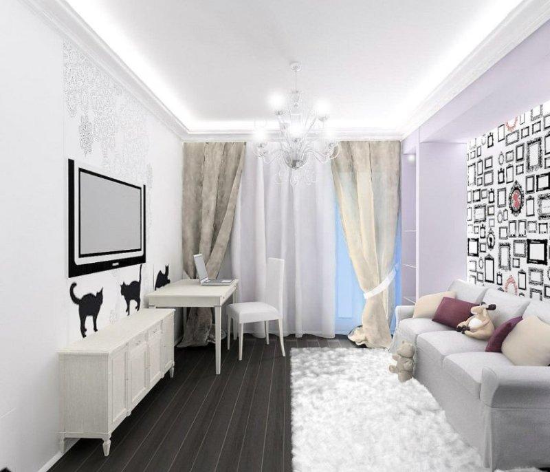 Расположение мебели у стены гостиной