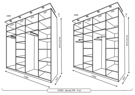 Размеры 4-хдверных шкафов