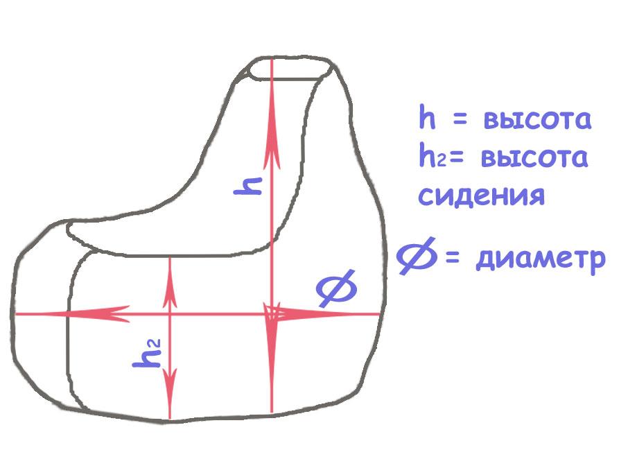 Размеры бескаркасной мебели
