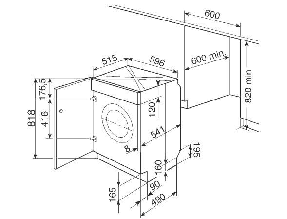 Схема с размерами для установки стиральной машины в шкаф