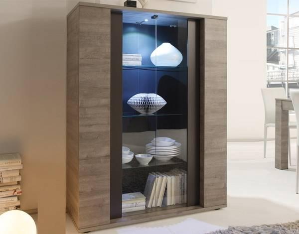 Современный шкаф витрина для посуды в гостиной