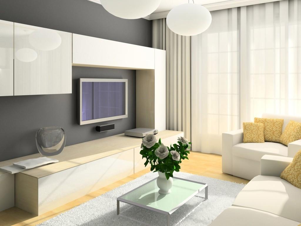 Светлая гостиная с современной мебелью