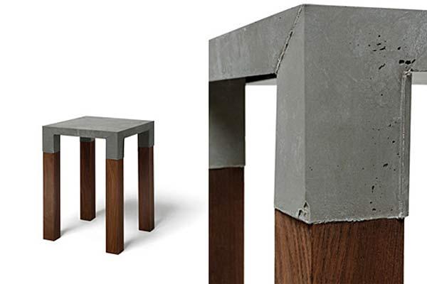 Табурет на основе бетона и дерева