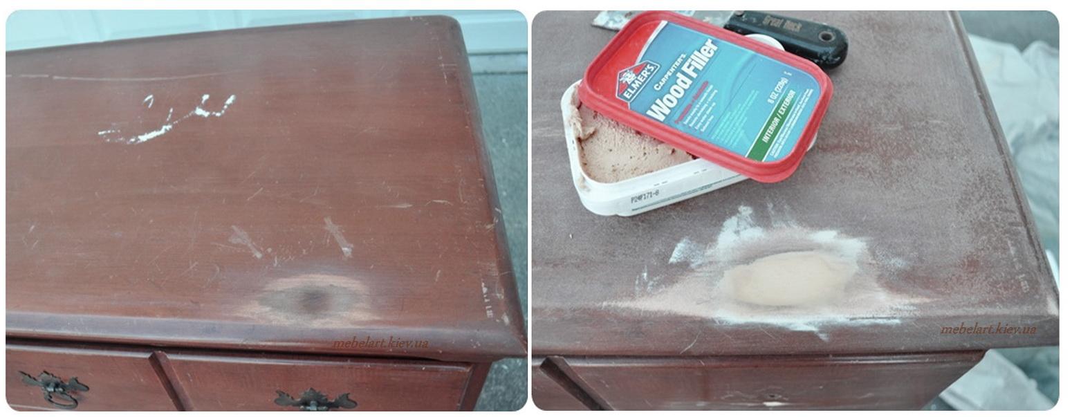 Убираем трещины на покрытии мебели