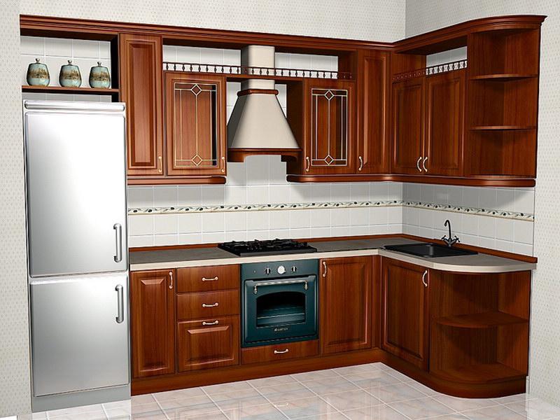 Угловая просторная мебель для кухни