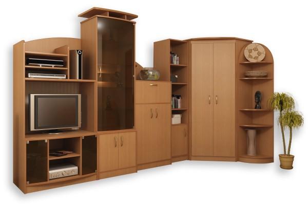 Угловой шкаф для гостиной комнаты