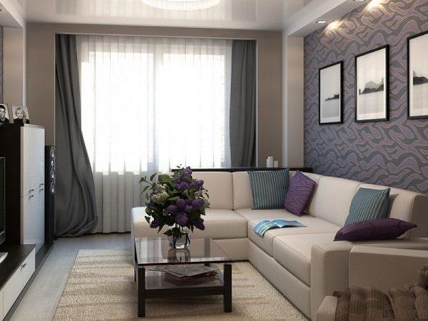 Уютная гостиная спальня в серых тонах