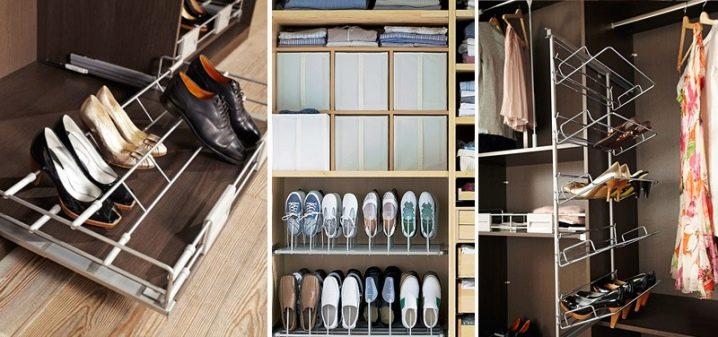 В нижней части шкафа-купе могут храниться обувь, предметы ухода за одеждой и домом