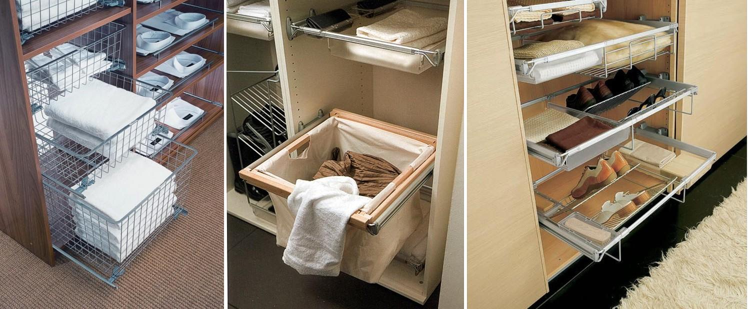 Выдвижные конструкции для шкафа купе