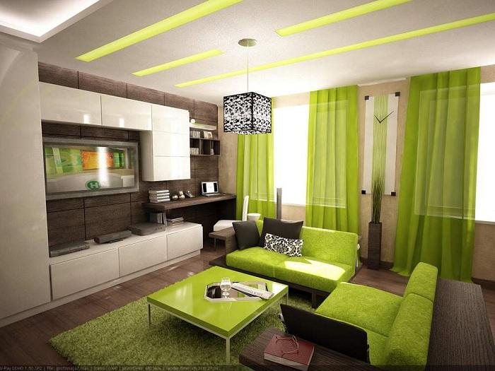 Зеленые нотки интерьера в комнате