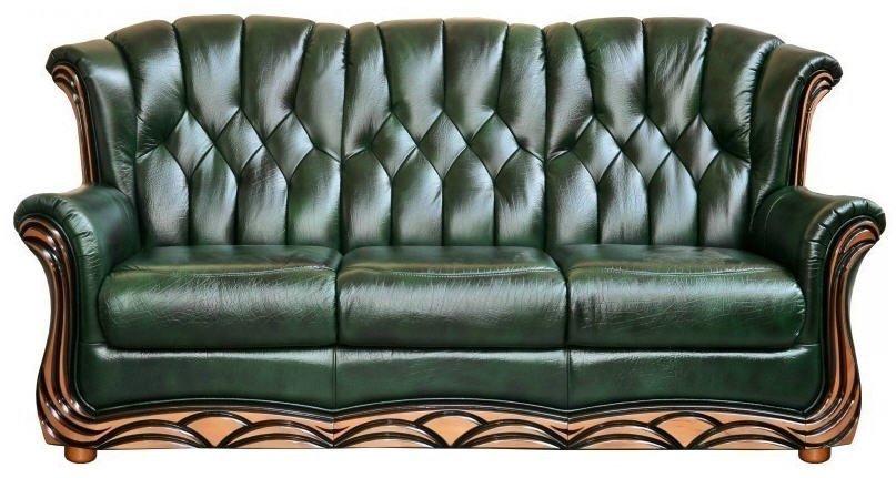 Зеленый диван из натуральной кожи