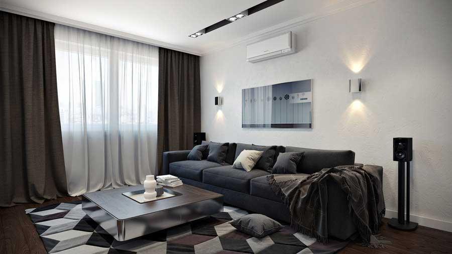 Белая гостиная комната