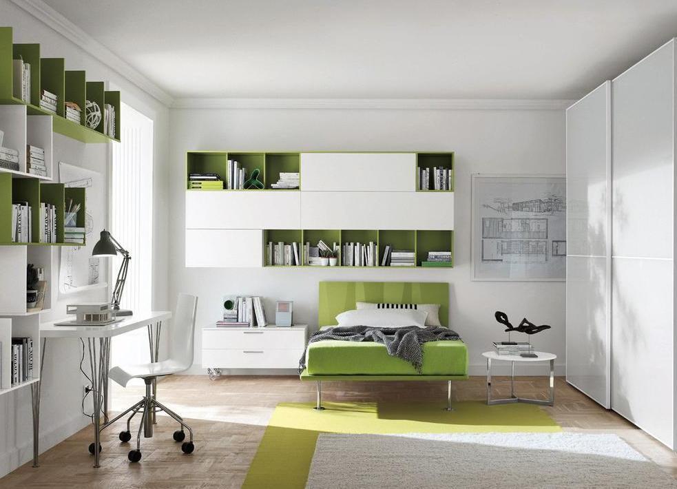 Бело-зеленый интерьер комнаты подростка
