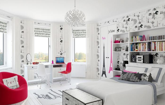 Белые тона мебели для детской комнаты девочки подростка