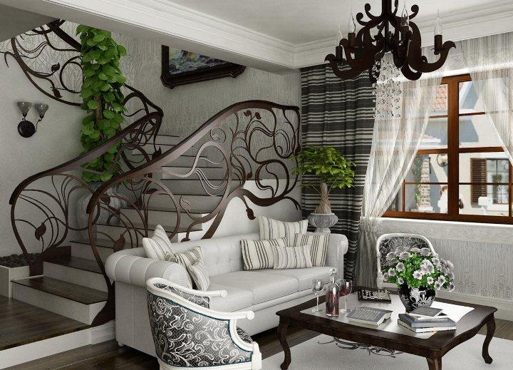 Белый диван с вычурными элементами