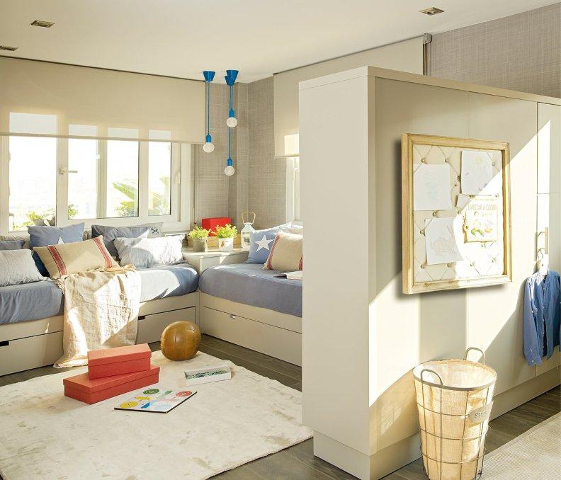 Бежевые тона интерьера спальни