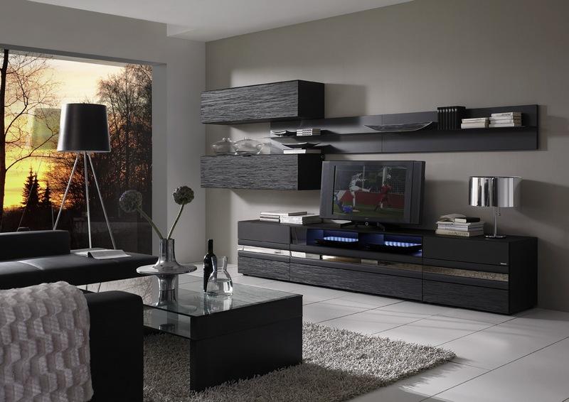 Черные предметы мебели для гостиной комнаты