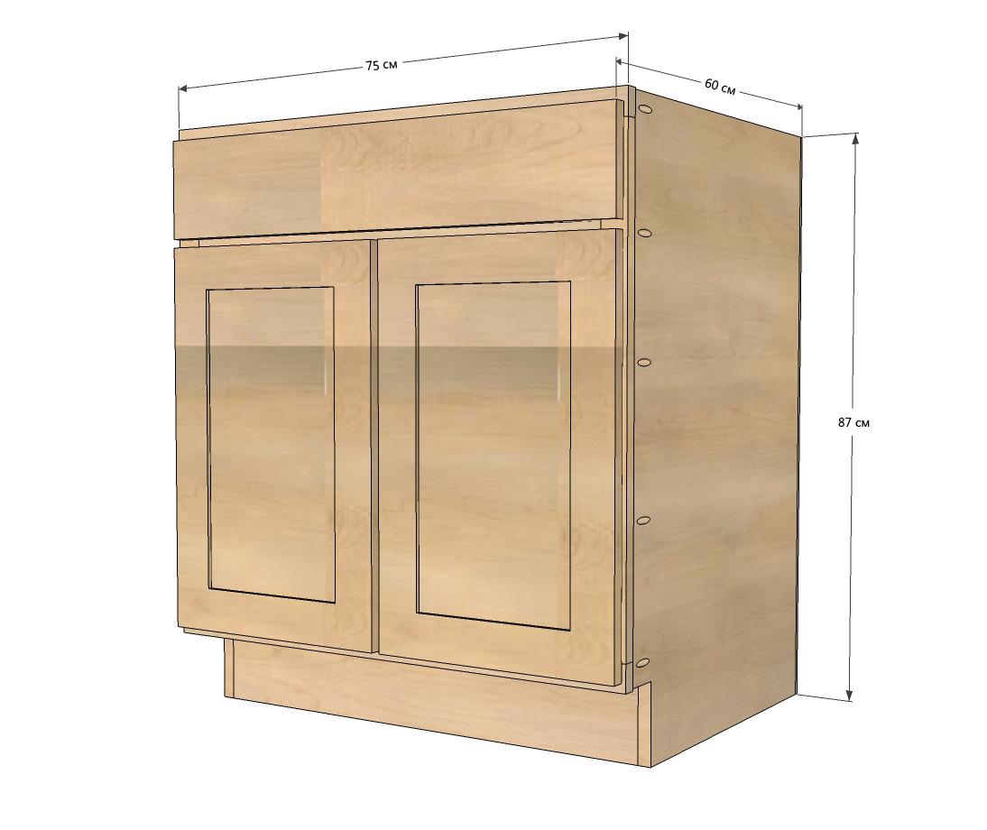 Чертеж кухонного шкафа под мойку с размерами