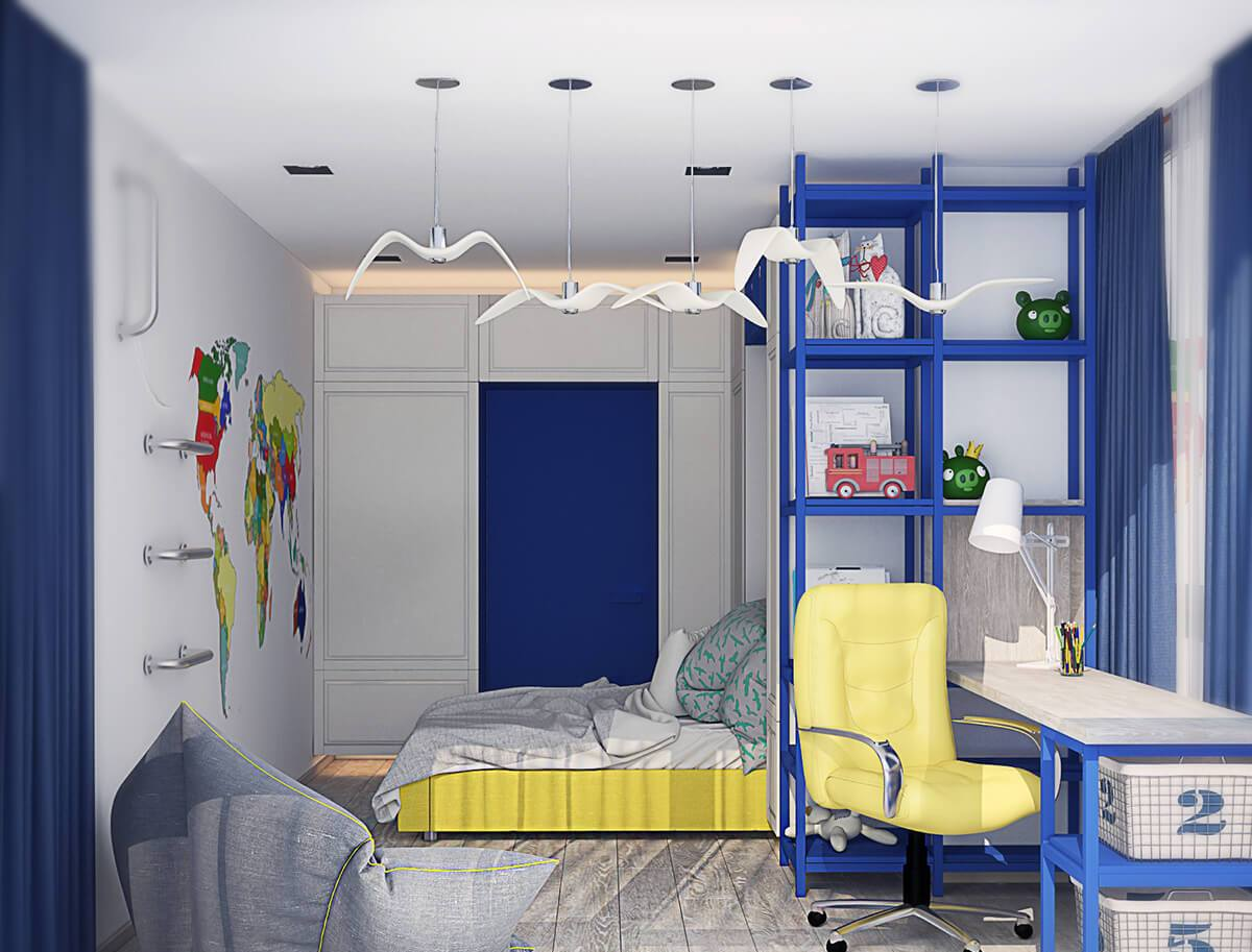 Детская комната для мальчика в сине-желтых тонах
