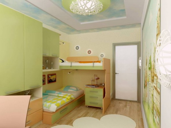Дизайн детской комнаты в светлых зеленых тонах