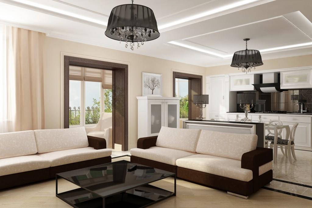 Два белых дивана в дизайне