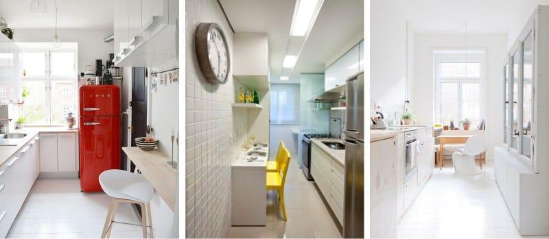 Двухрядная планировка на маленькой кухне