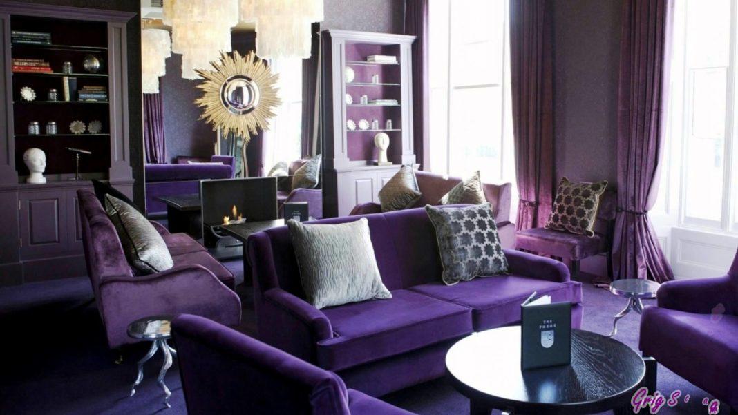 Фиолетовая гостиная в стиле арт-деко