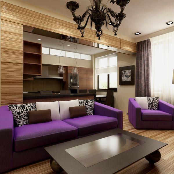 Фиолетовые оттенки обивки мебели