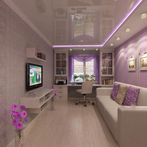 Фиолетовые тона современного зала