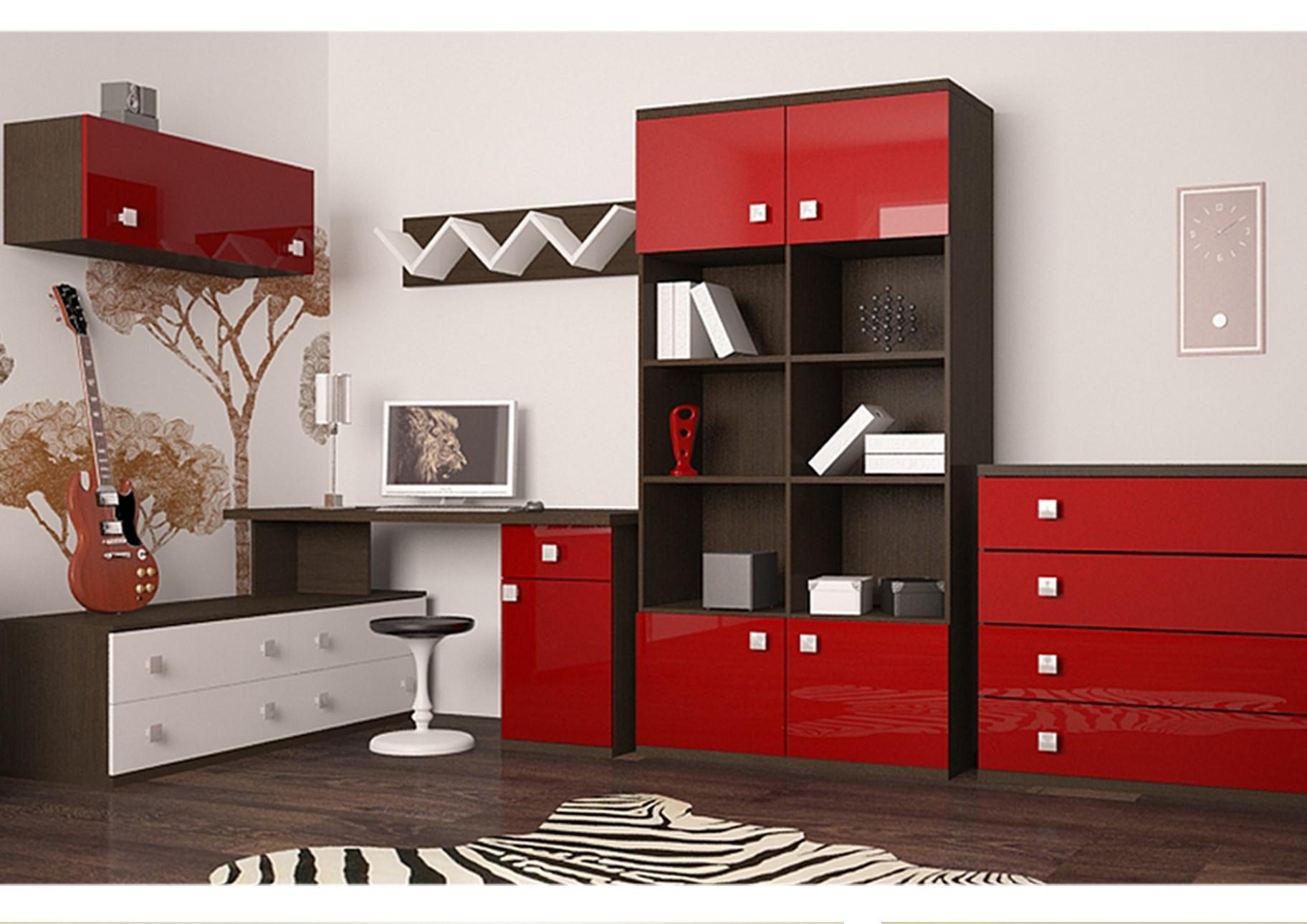 Глянцевые красные фасады мебели
