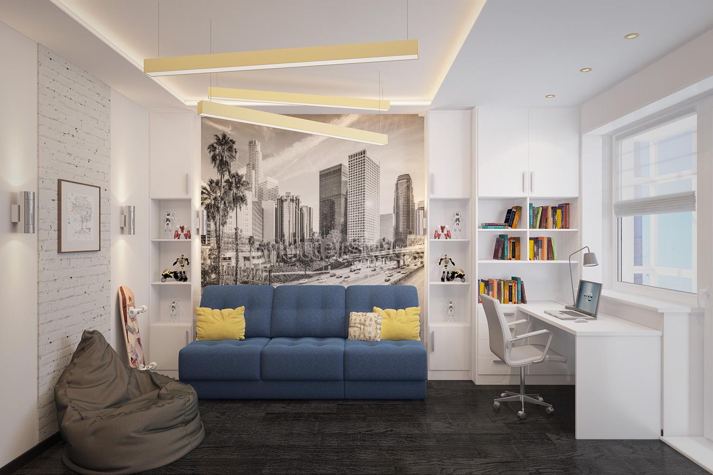 Голубой диван в интерьере комнаты