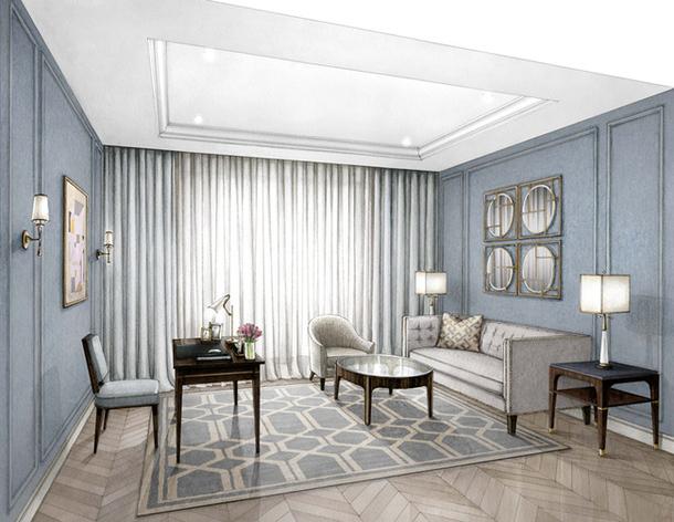 Голубой приятный оттенок мебели и стен