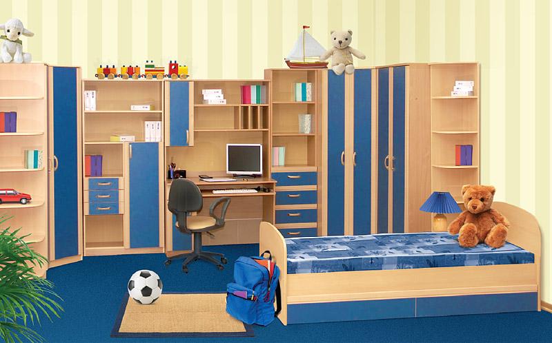 Голубые оттенки в комнате ребенка