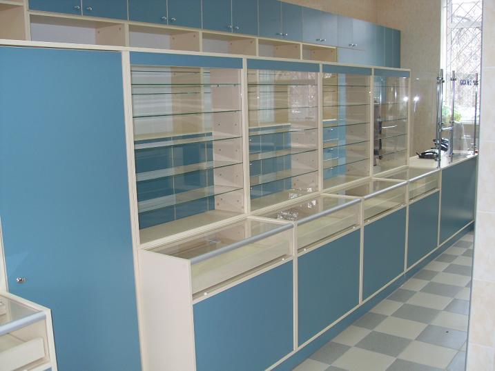 Голубые торговые шкафы