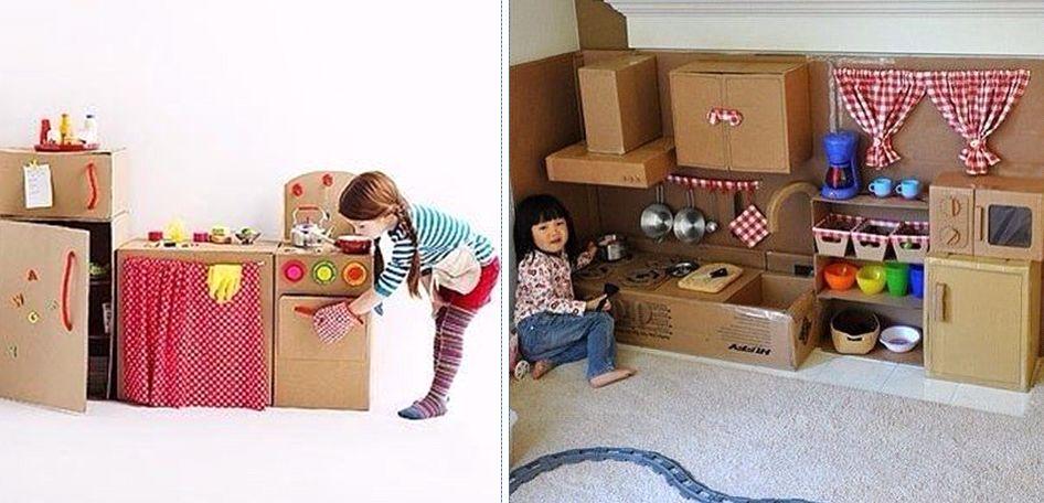 Игрушечная мебель из картонных коробок