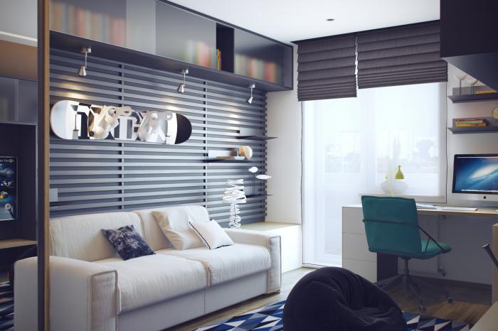 Классическая современная подростковая комната в стиле Хай-тек