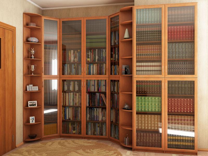 Книжный шкаф с открытыми угловыми полками