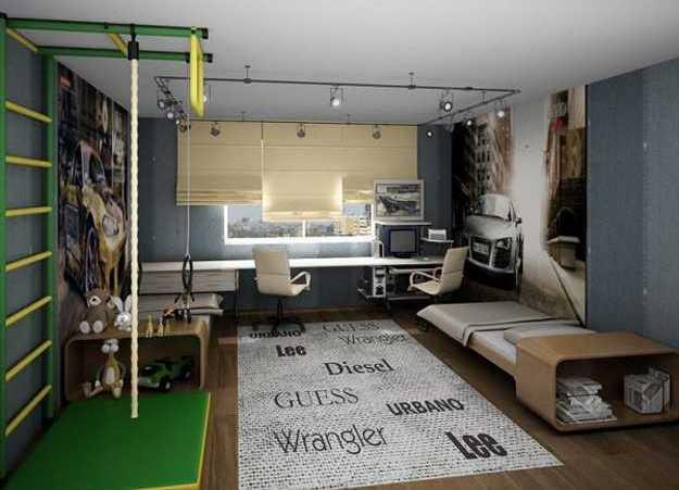 Комната для ребенка со спортивной стенкой