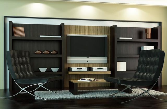 Красивая корпусная мебель темного цвета