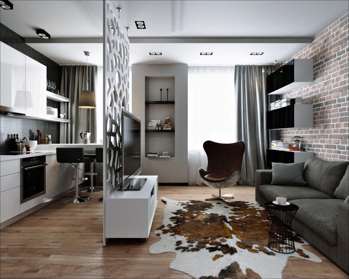 Квартира-студия в стиле мужской лофт