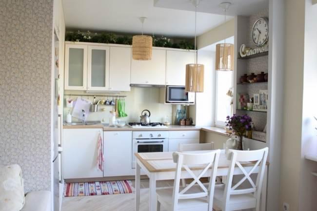 Линейное расположение мебели на кухне