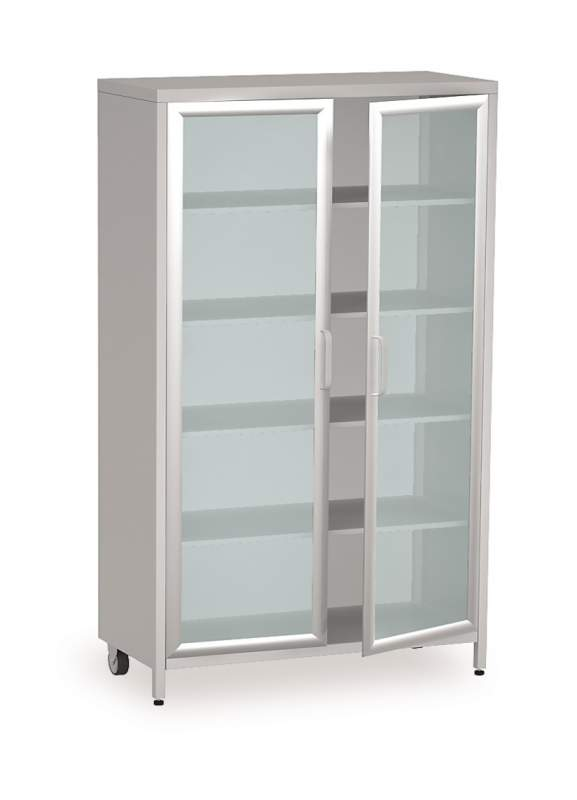 Медицинский металлический двухстворчатый шкаф-витрина