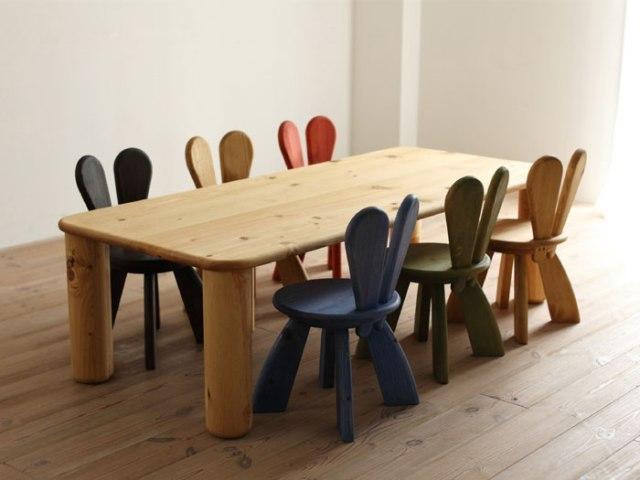 Обеденная зона с яркими стульями