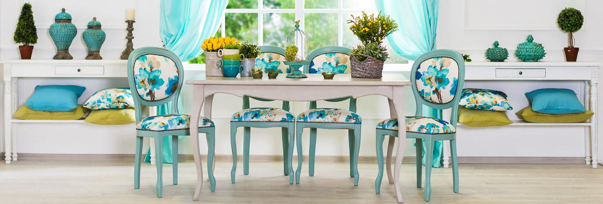 Обеденные столы голубого цвета