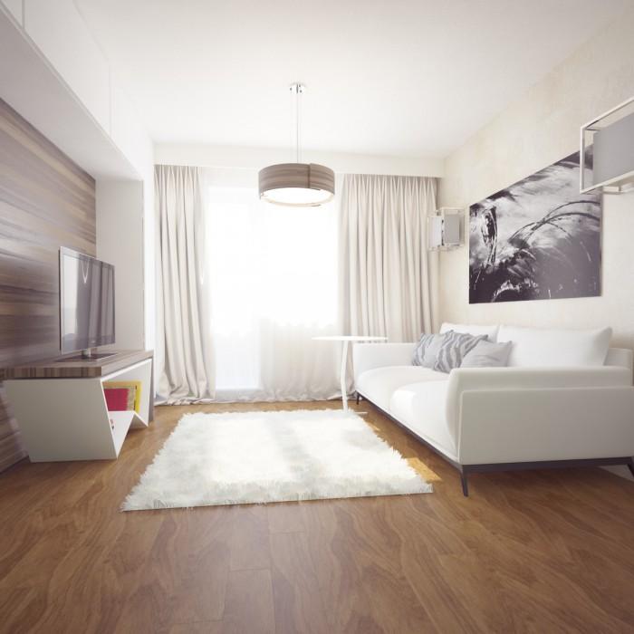 Однокомнатная квартира в белых тонах
