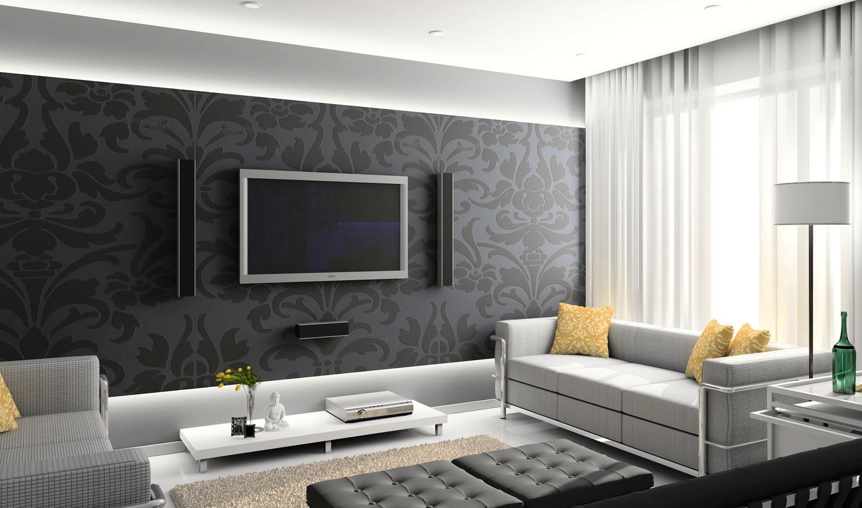 Прииятный интерьер просторной комнаты