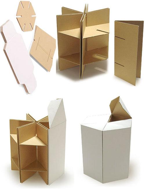 Приклеенные детали мебели на основе картона