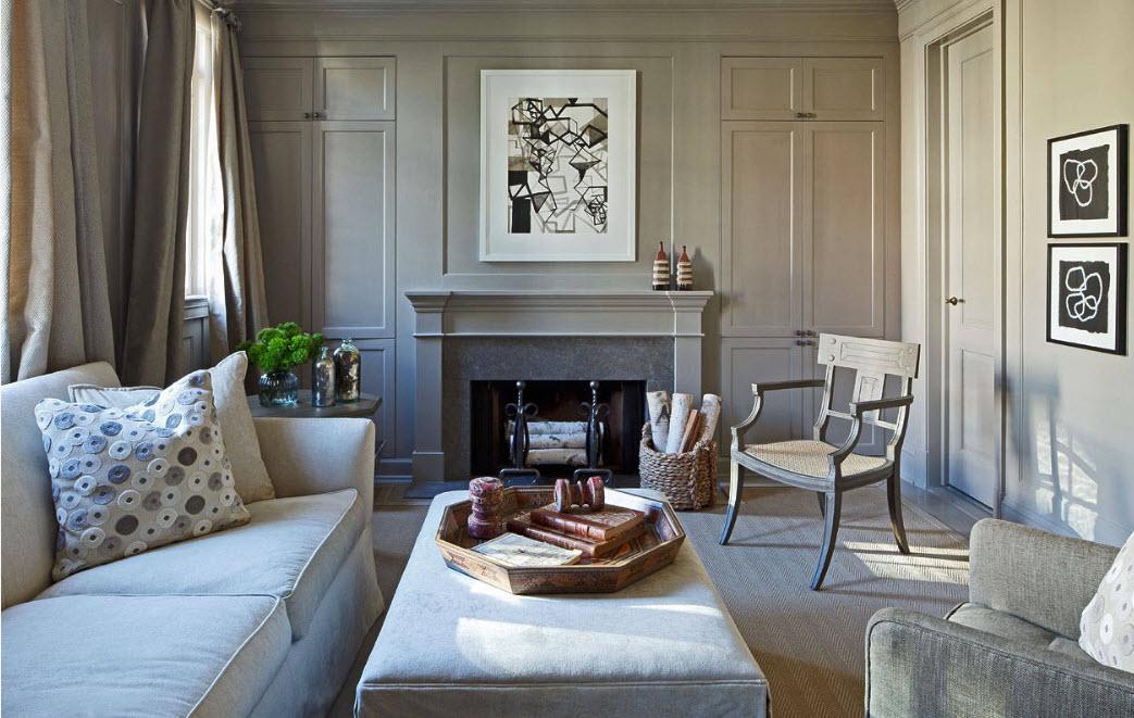 Применение камина и мягкой мебели