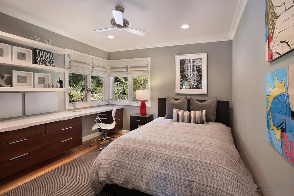 Приятные серые тона в дизайне комнаты