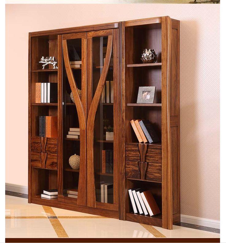 Прямой книжный шкаф с высокими дверцами